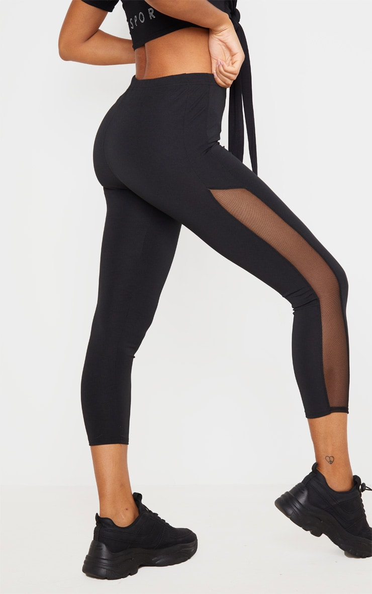 Black Mesh Panel Cropped Gym Leggings 4