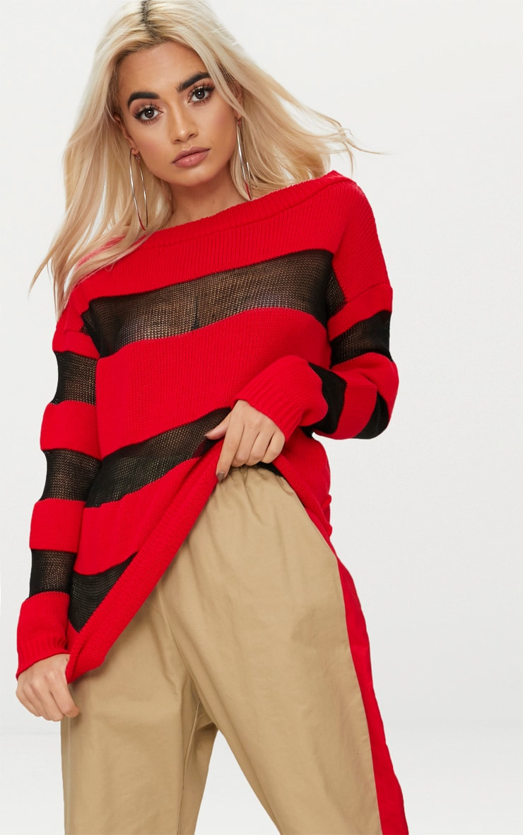 Red Sheer Stripe Jumper 1