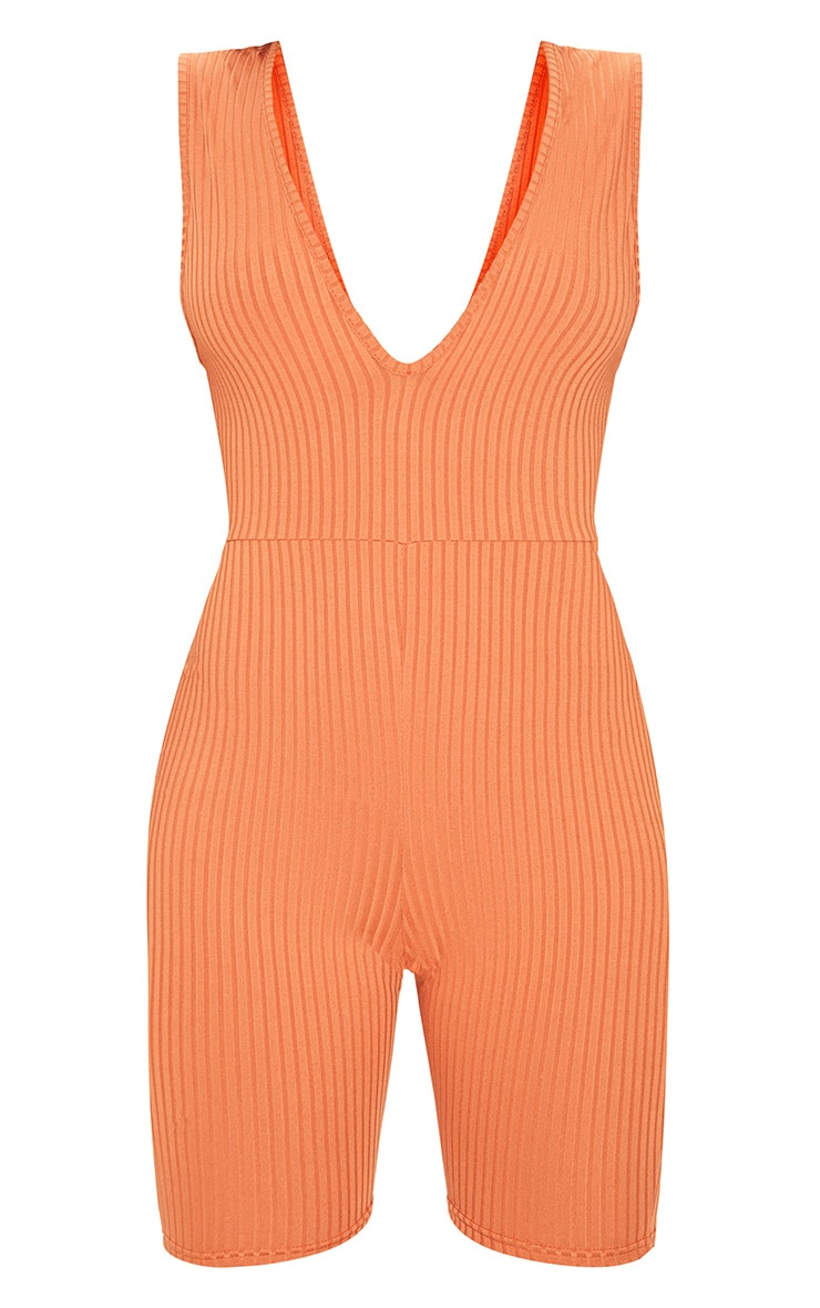 Burnt Orange Ribbed Plunge Sleeveless Unitard 3