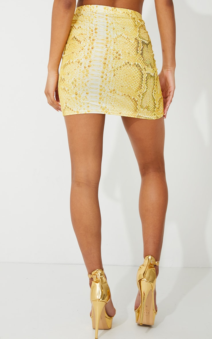 Yellow Snake Print Mini Skirt 2