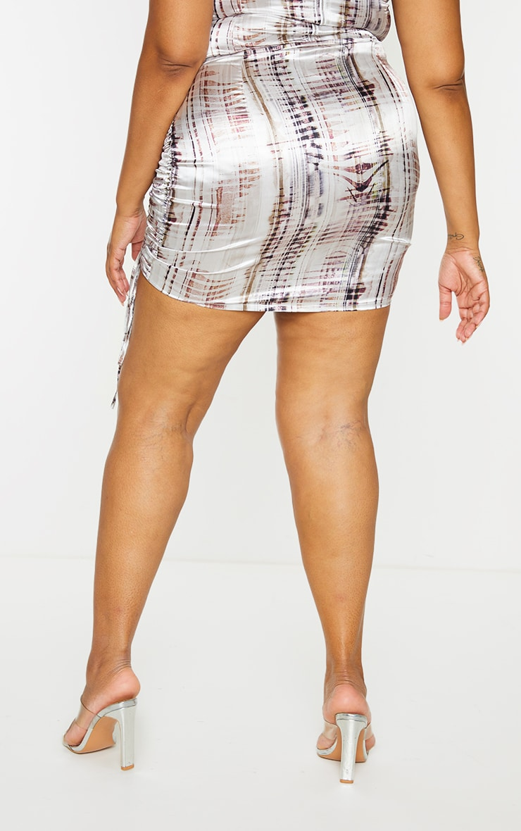 Plus Brown Abstract Print Satin Ruched Skirt 3
