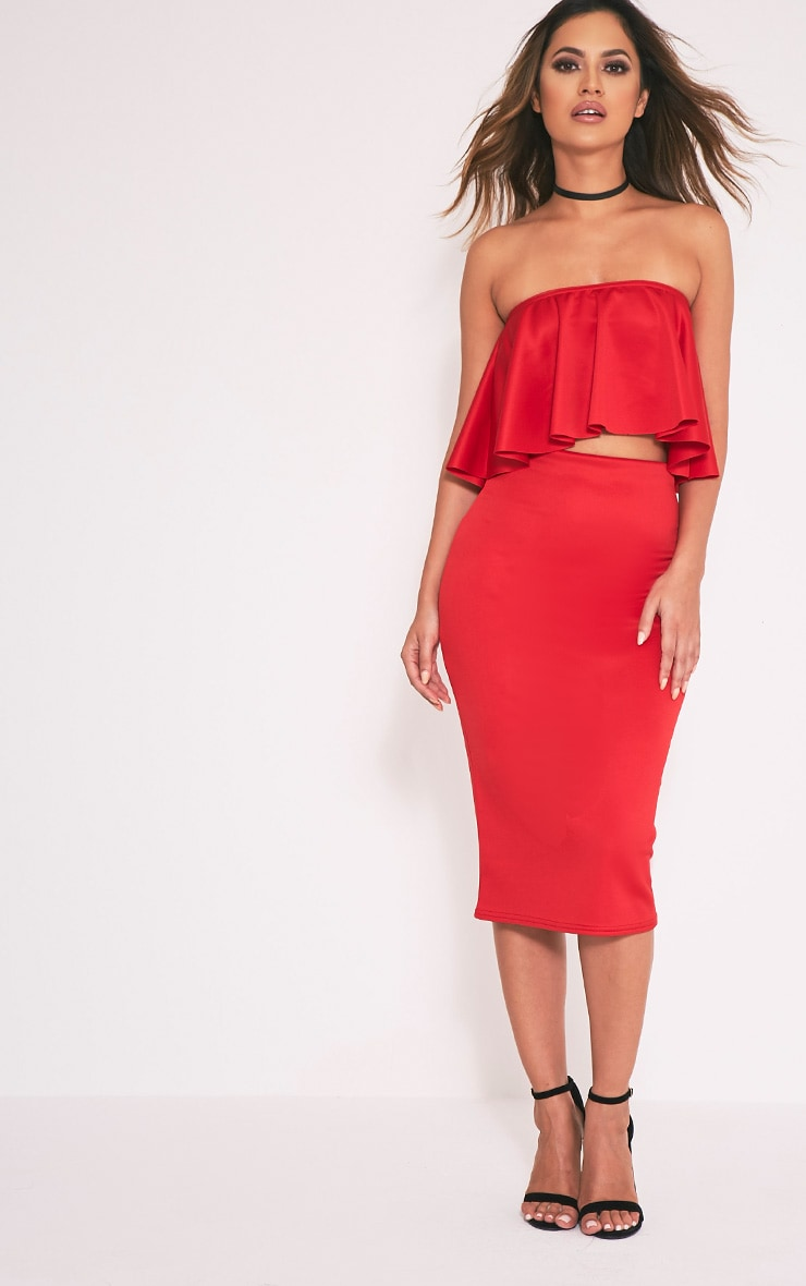 Fillipa Red Scuba Frill Bardot Crop Top 5