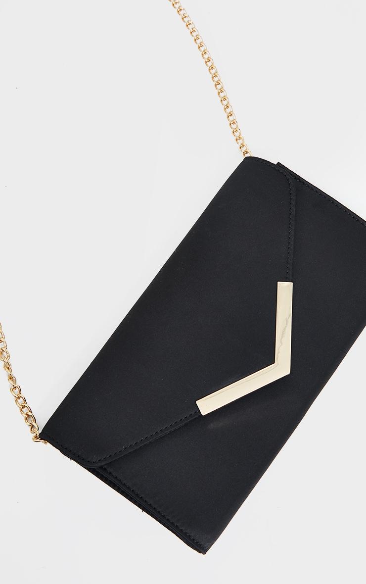 Black Satin Clutch Bag 2