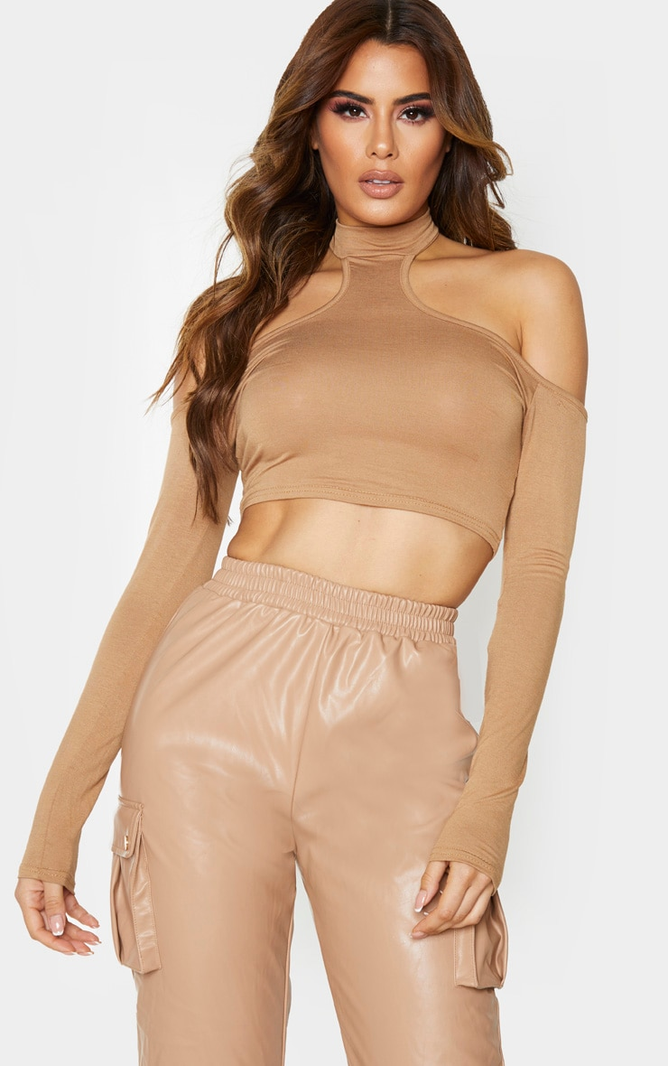 Tall Camel Cut Out High Neck Long Sleeve Jersey Crop Top 1
