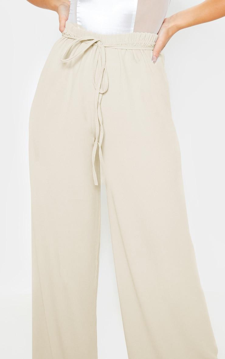 Stone Tie Waist Detail Extreme Wide Leg Pants 5