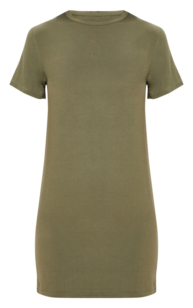Khaki Basic Short Sleeve T Shirt Dress 3