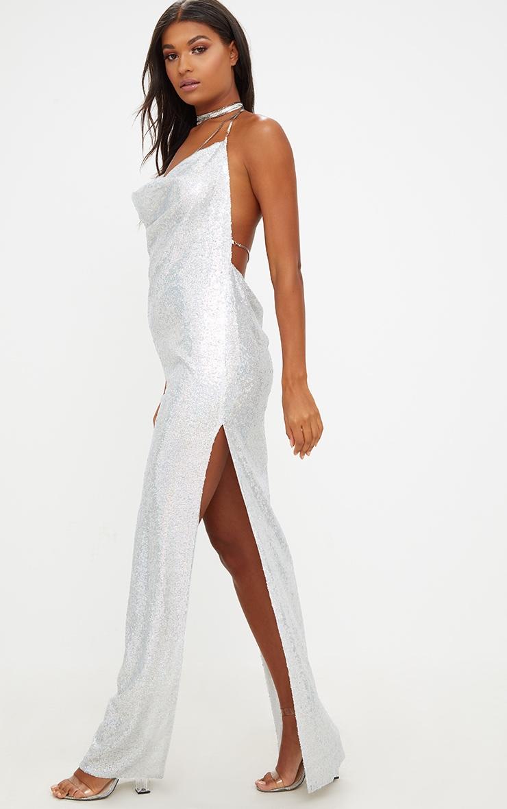Silver Sequin Chain Choker Maxi Dress 4