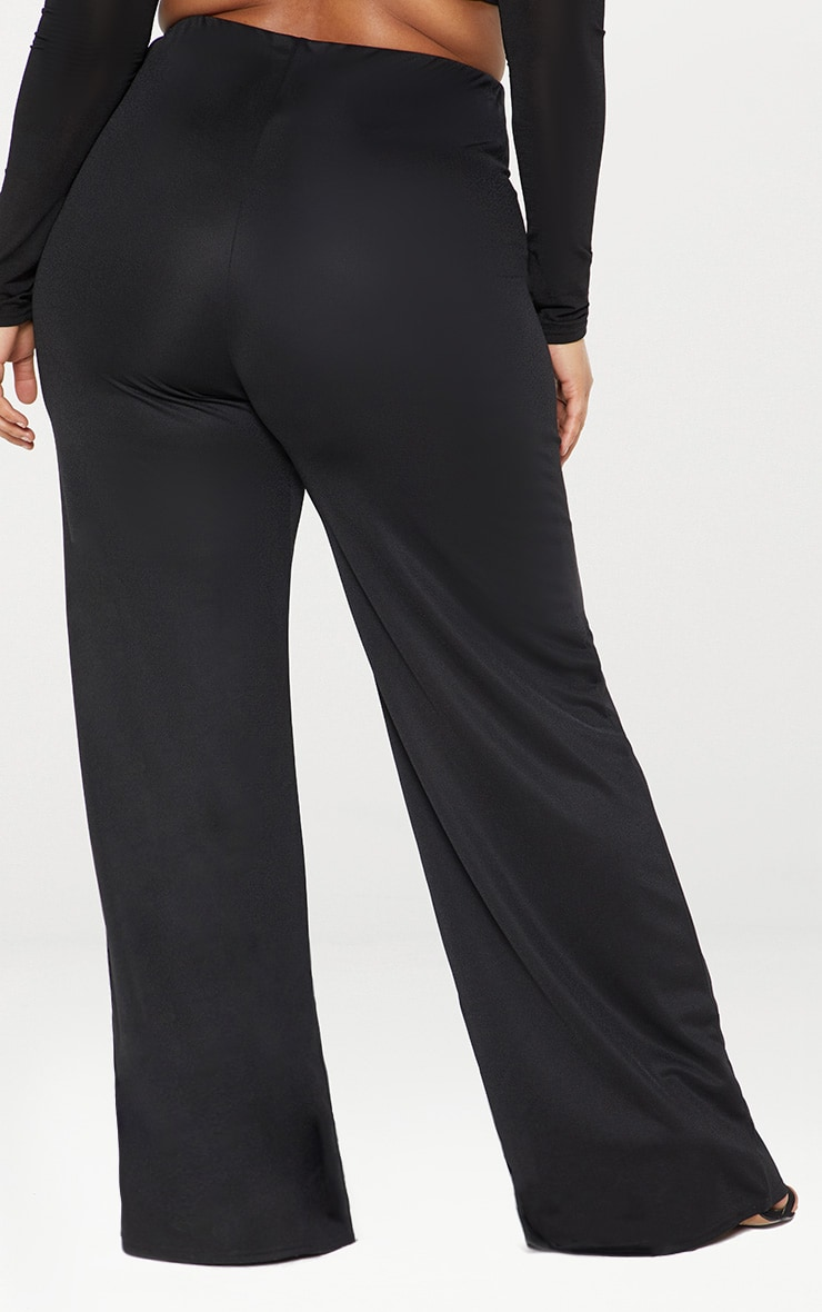 Plus Black High Waisted Wide Leg Trousers 3