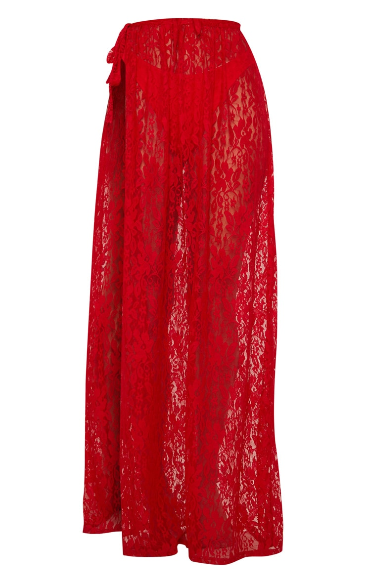 Red Lace Tie Side Maxi Beach Skirt 3