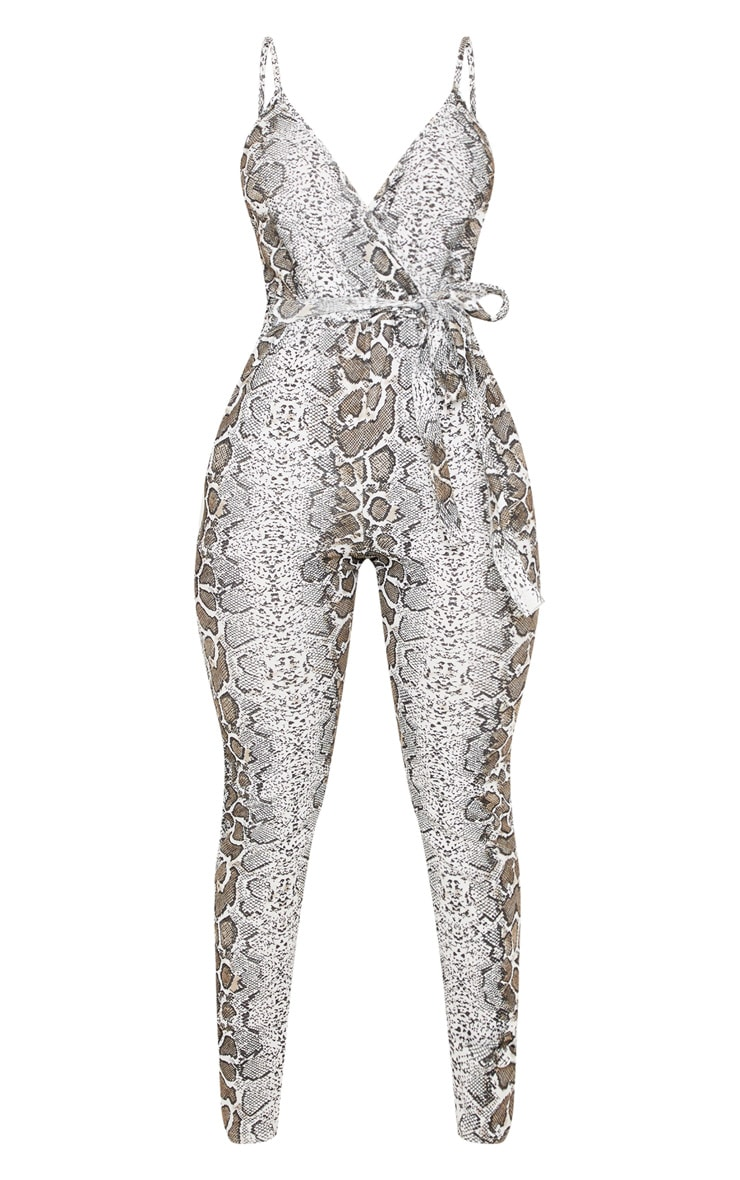 White Snake Print Strappy Plunge Jumpsuit 4