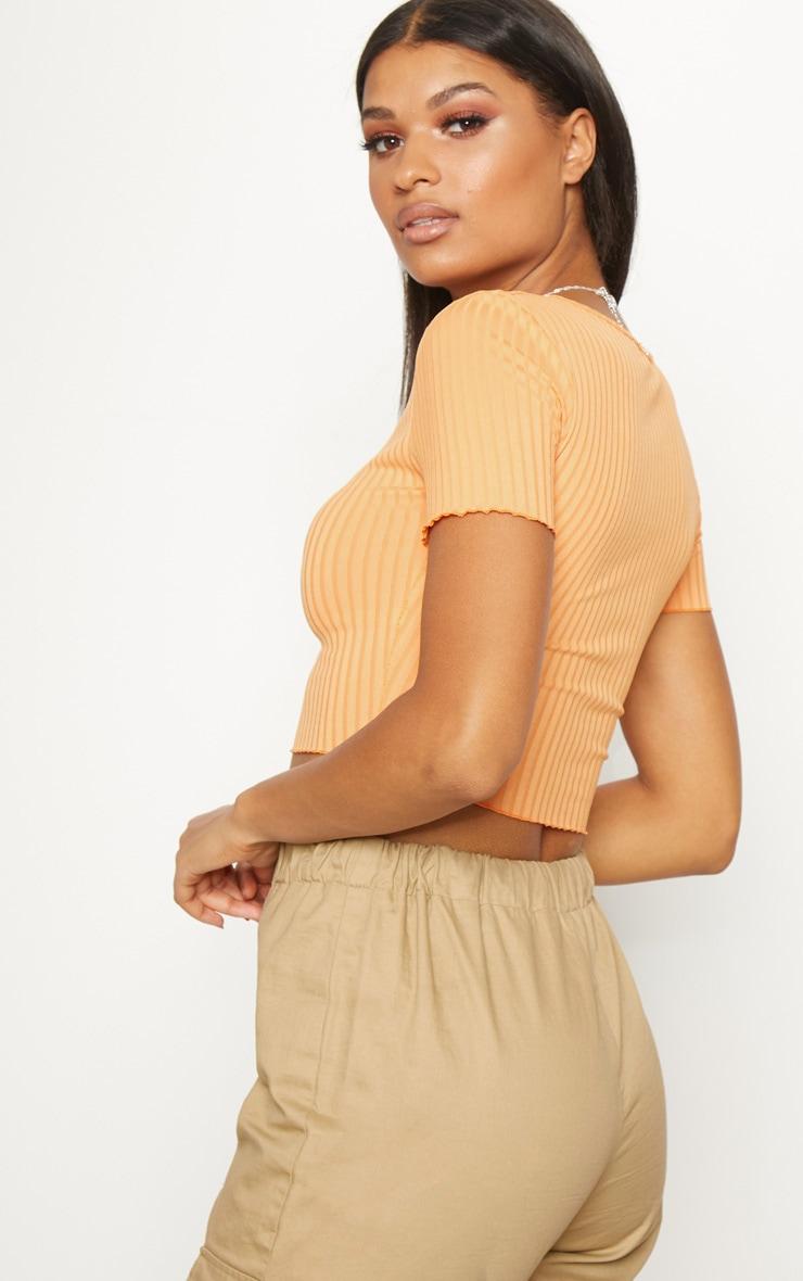 Tangerine Rib Frill Detail Crop T Shirt 2