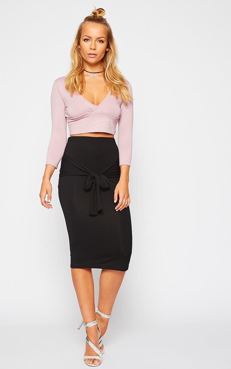 Raemona Black Tie Midi Skirt 1
