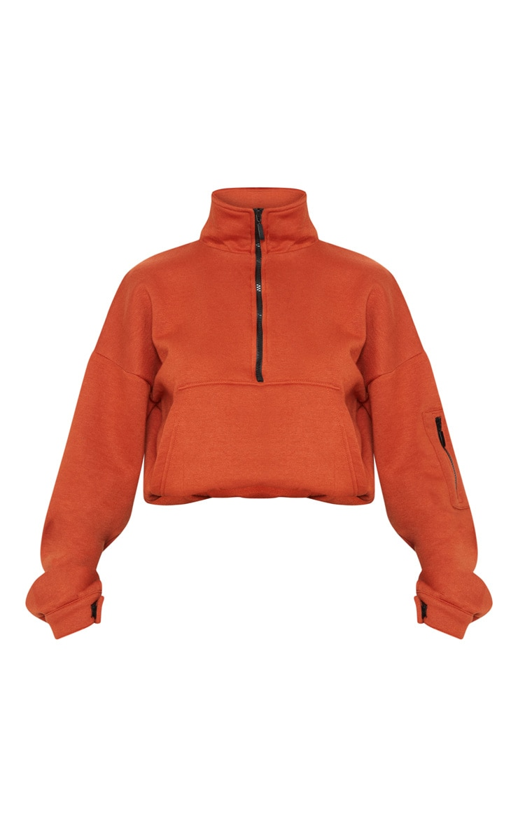 Rust Oversized Zip Front Sweater  3