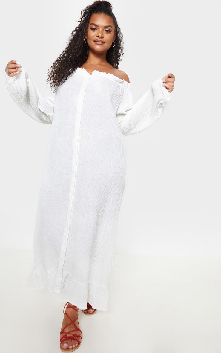 Plus White Bardot Frill Hem Maxi Dress 4