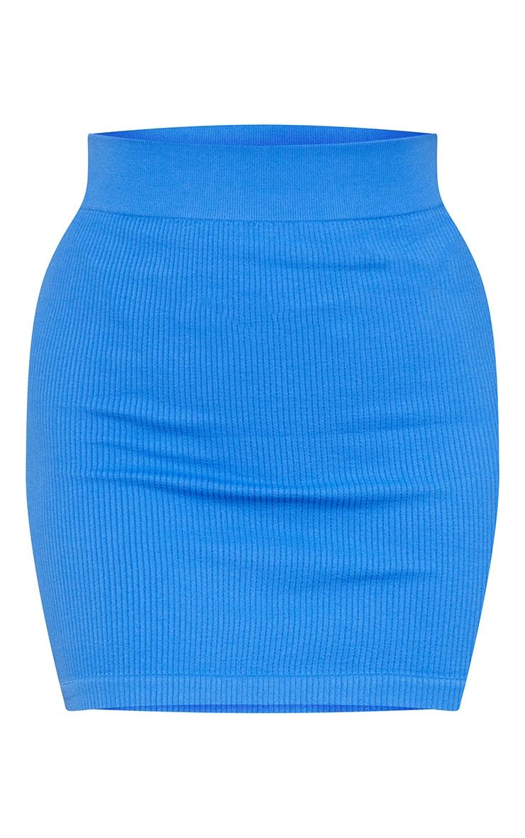 Sky Blue Structured Contour Rib Mini Skirt 6