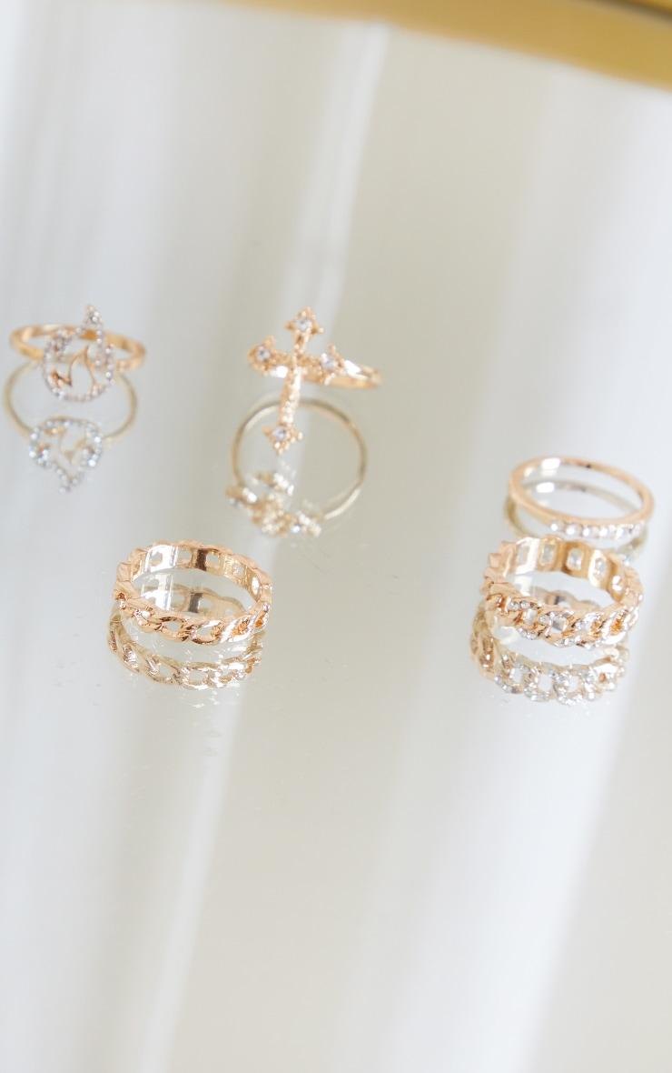 Gold Cross Multi Ring Pack 3