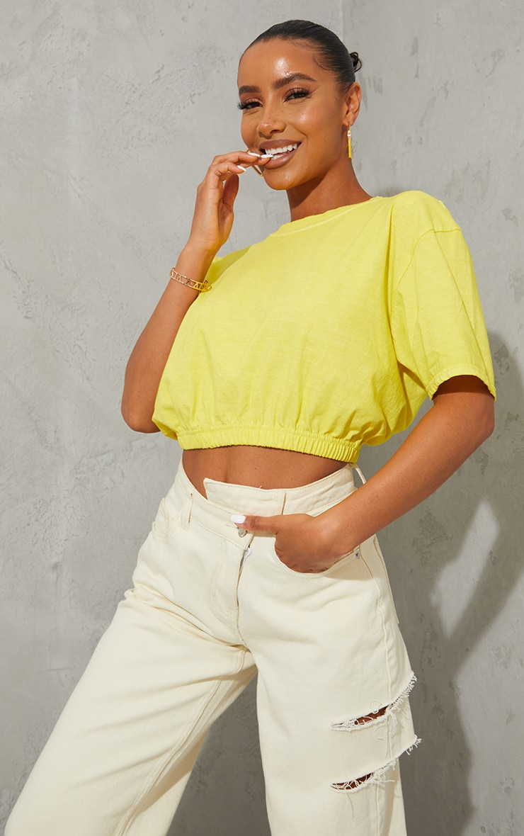 Lemon Washed Cropped T Shirt 1