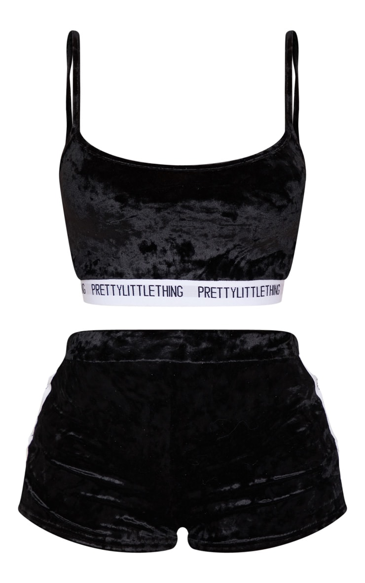 PRETTYLITTLETHING Black Velvet Tape Lounge Set 5