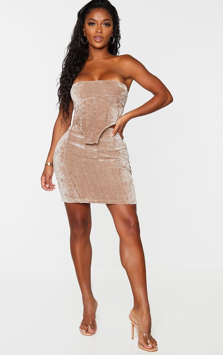 Shape Brown Rib Velour Seam Detail Bodycon Skirt 1