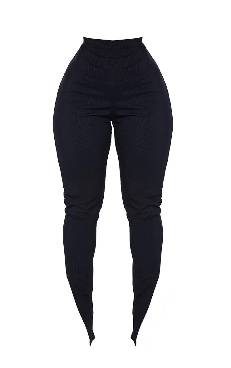 Shape Black Rib High Waist Split Hem Trousers 5