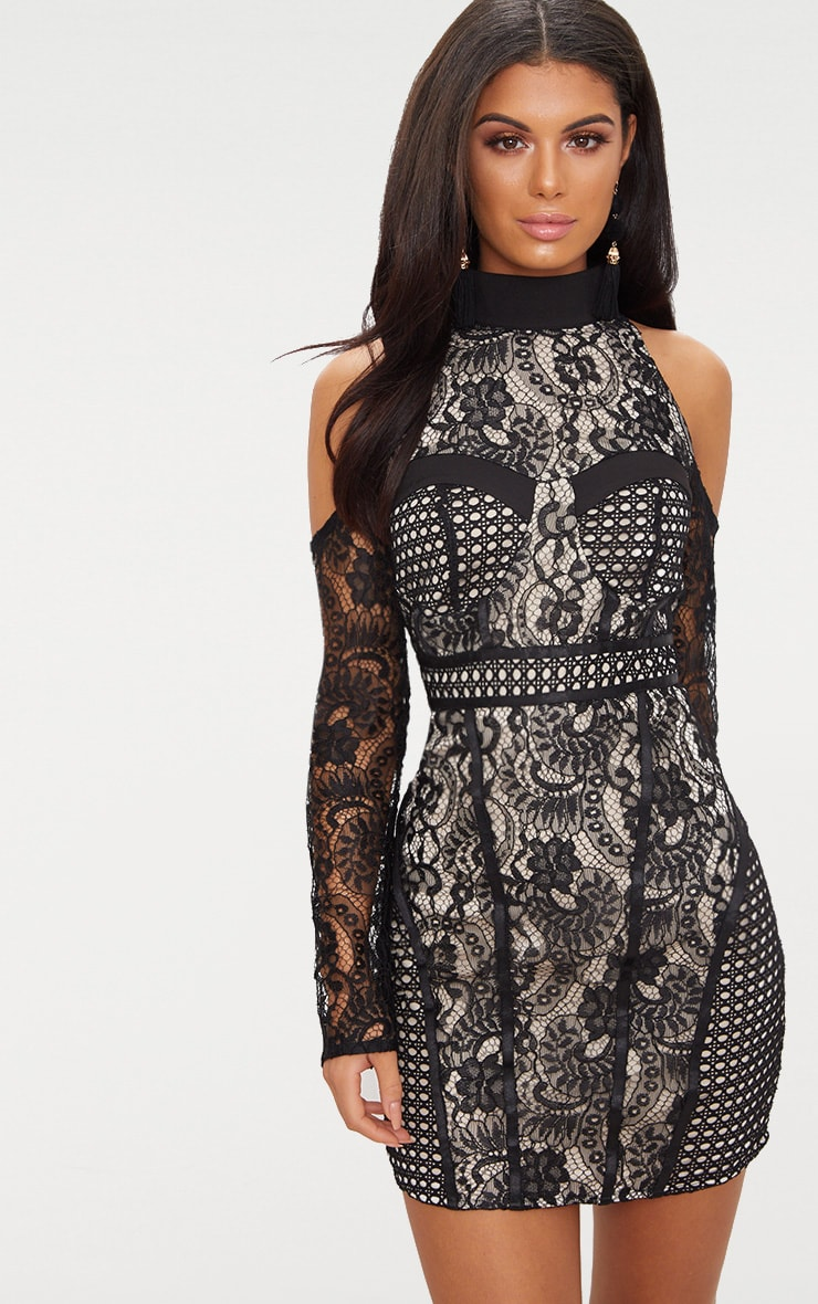 Black Cold Shoulder Lace Panelled Bodycon Dress 1