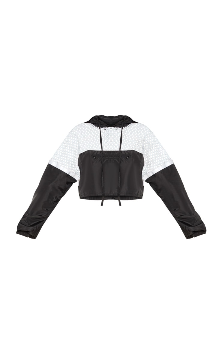Monochrome Shell Fishnet Panel Jacket 5