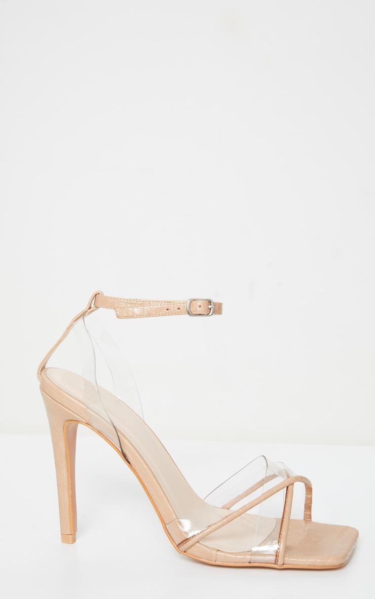 Sandales carrées nude à brides croisées et talon 4