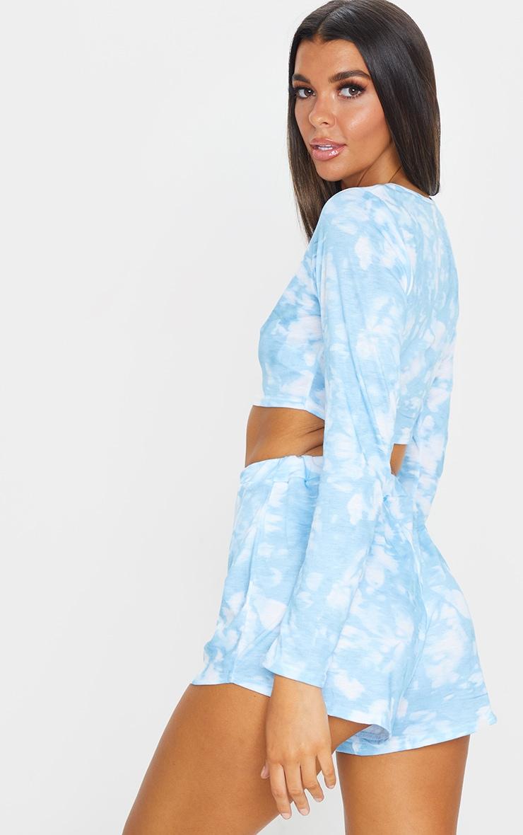 Baby Blue Tie Dye Long Sleeve PJ Set 2