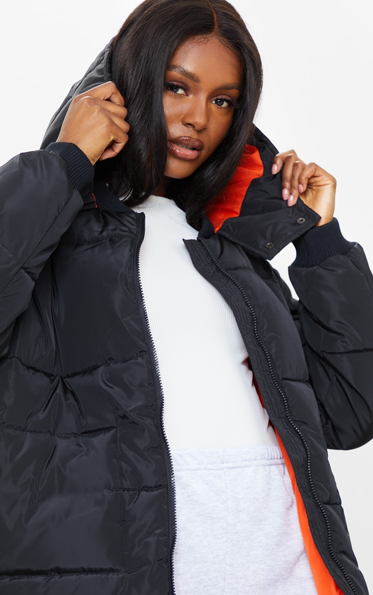 Tall Black Maxi Contrast Hooded Puffer Jacket 4