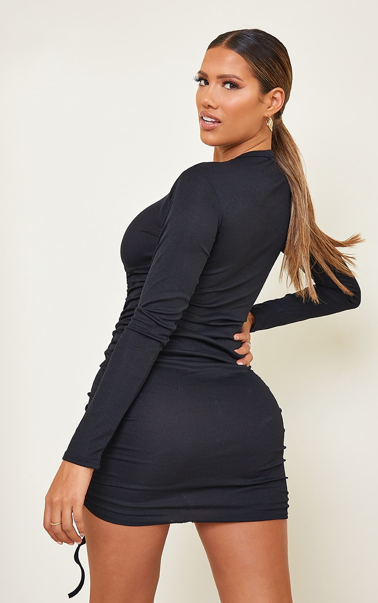 Shape Black Rib Underbust Detail Long Sleeve Ruched Bodycon Dress 2