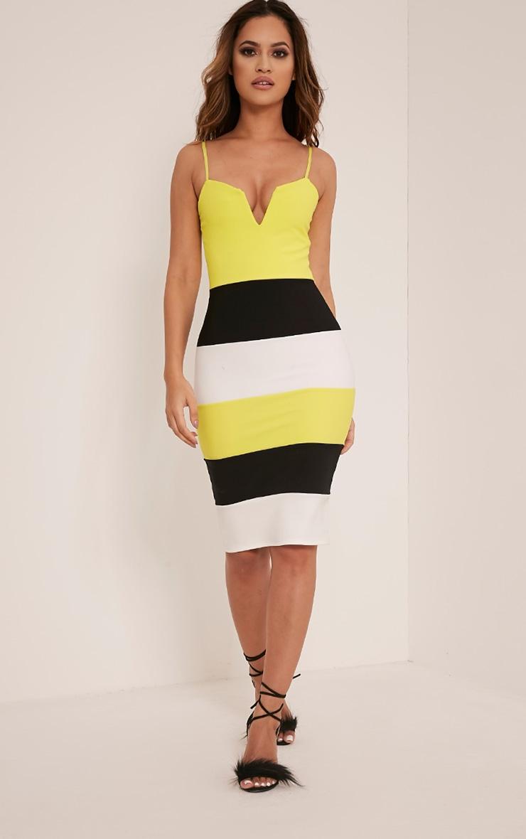 Ebony Lime Green Contrast Colour Block Bandage Dress 5