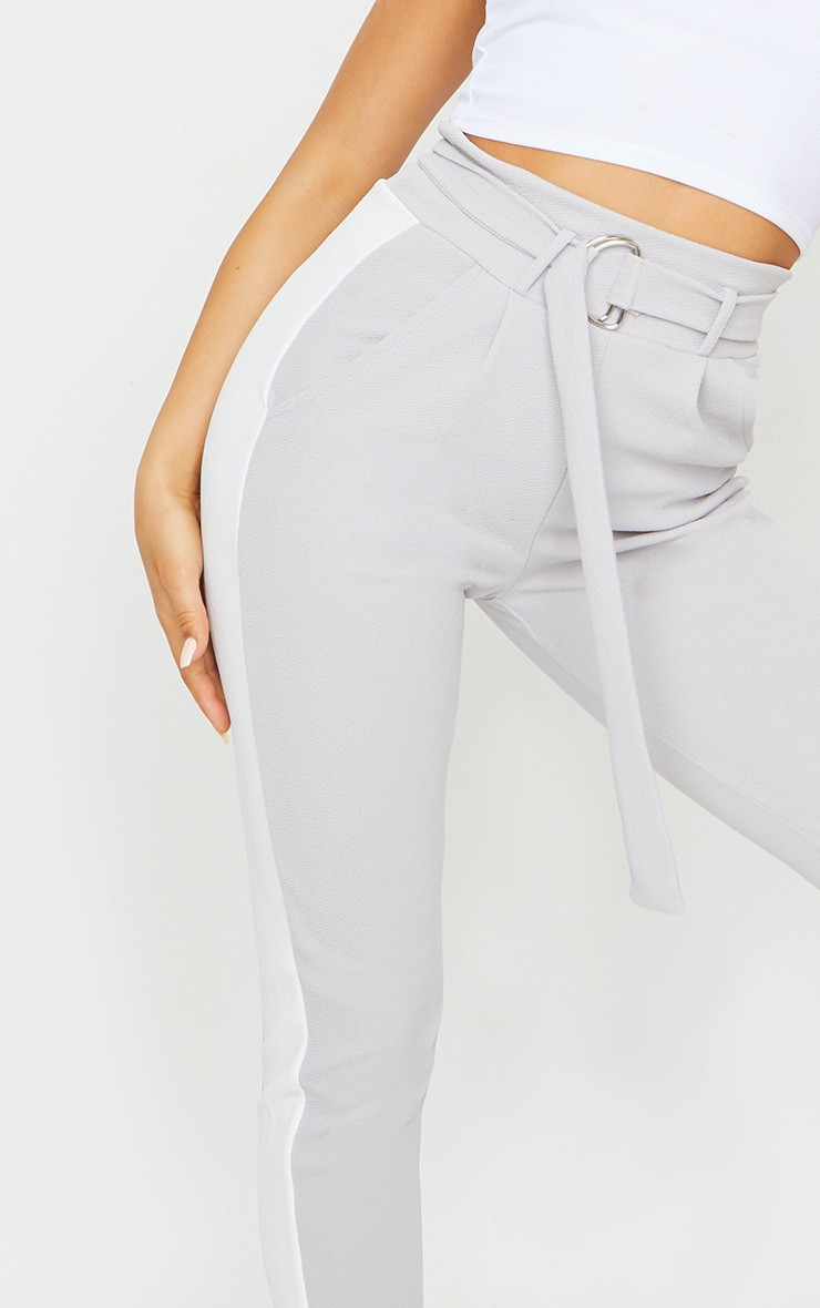 Grey D Ring Contrast Panel Skinny Trousers 4