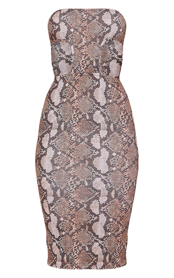 Brown Snake Print Ribbed Bandeau Cut Out Detail Midi Dress 5