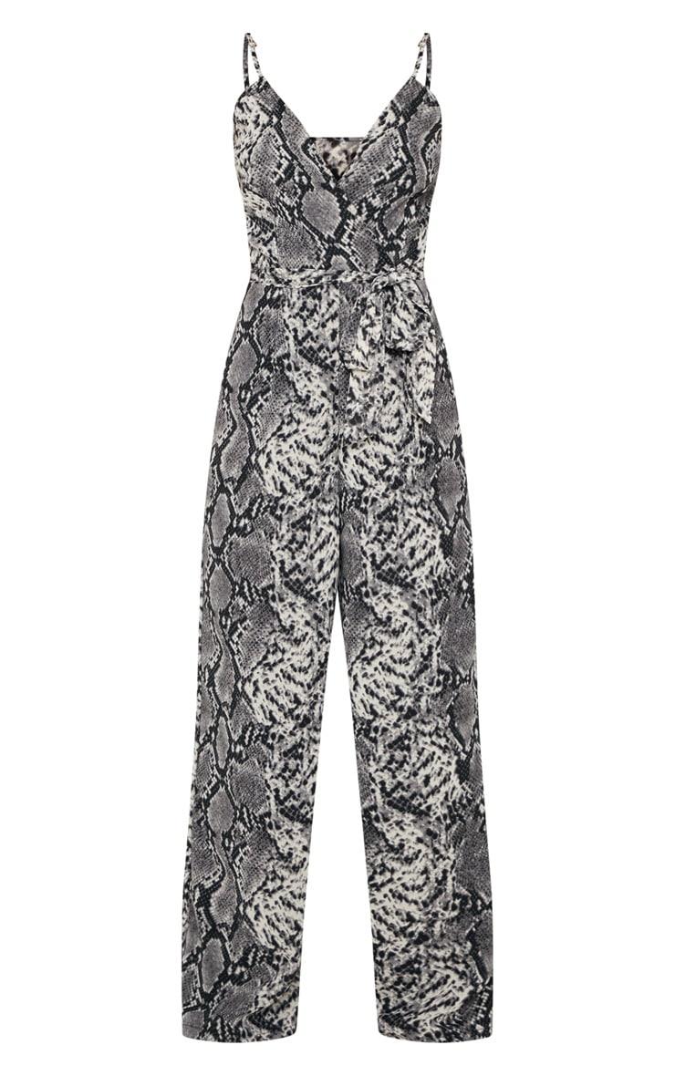 Petite Grey Snake Print Strappy Tie Waist Jumpsuit 3