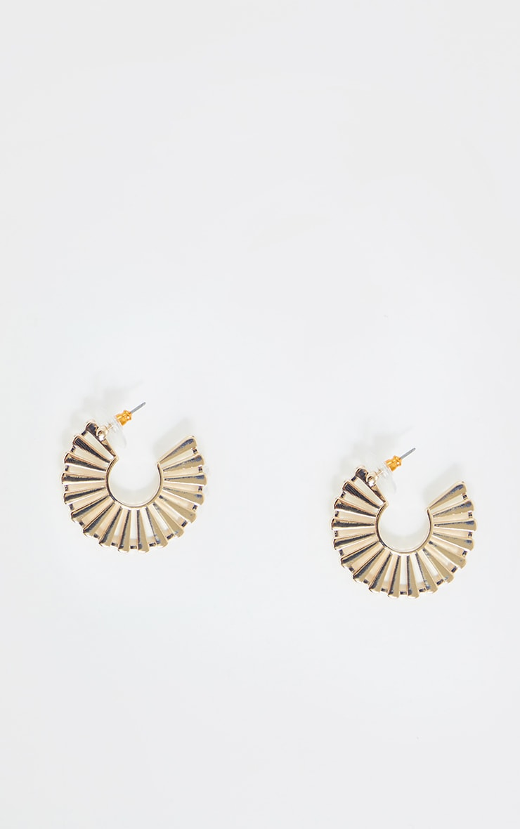 Gold Fan Medium Hoops 2