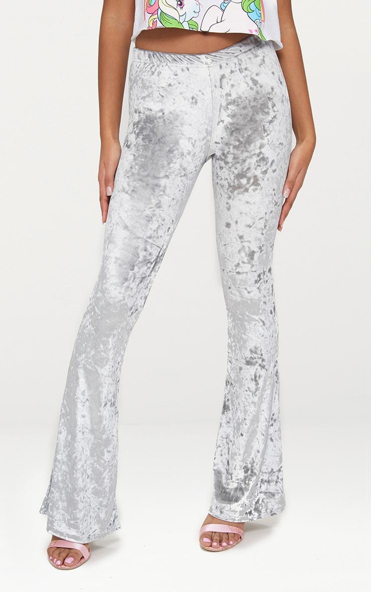 Petite Silver Velvet Flared Trousers 2