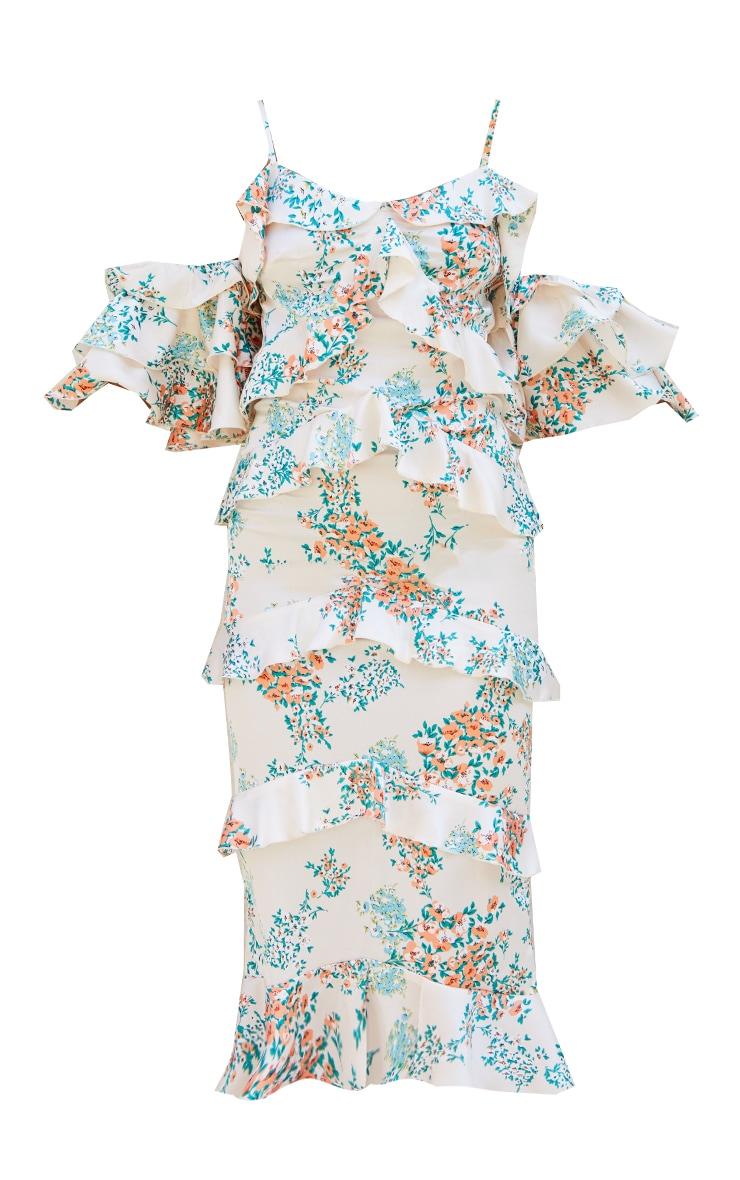 Nude Floral Print Tiered Frill Strappy Bardot Midi Dress 5