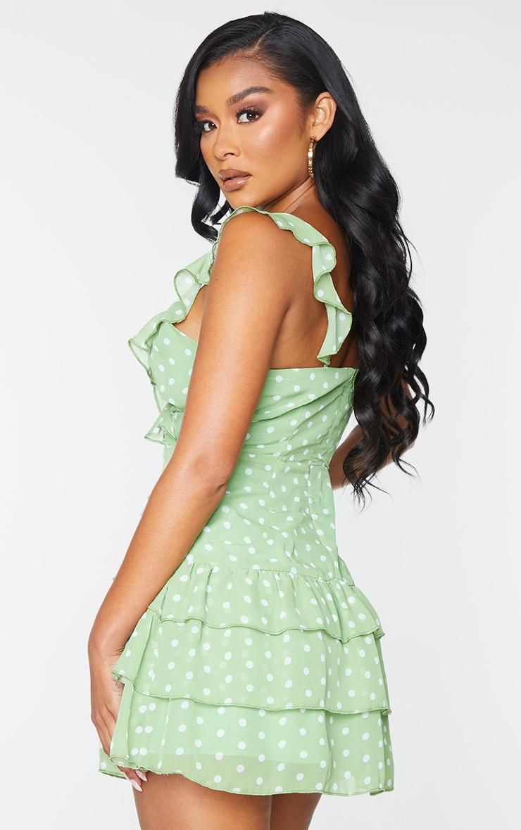 Sage Green Polka Dot Print Chiffon Frill Detail Strappy Bodycon Dress 2