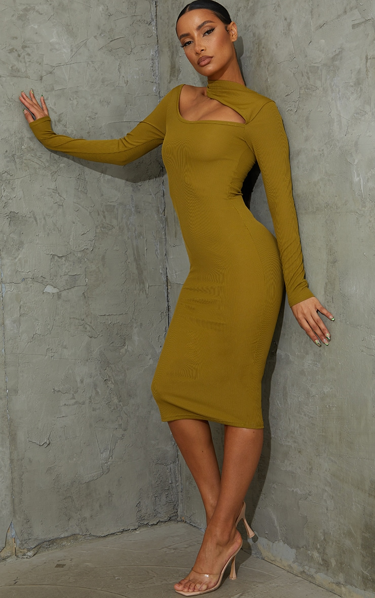 Olive Ribbed High Neck Cut Out Detail Long Sleeve Midi Dress 3