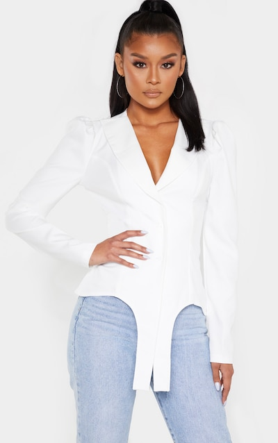 White Puff Sleeve Stirrup Oversized Shirt