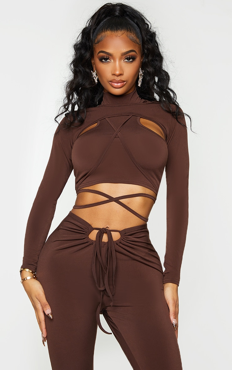 Shape Chocolate Brown Slinky High Neck Cut Out Strap Detail Crop Top 1