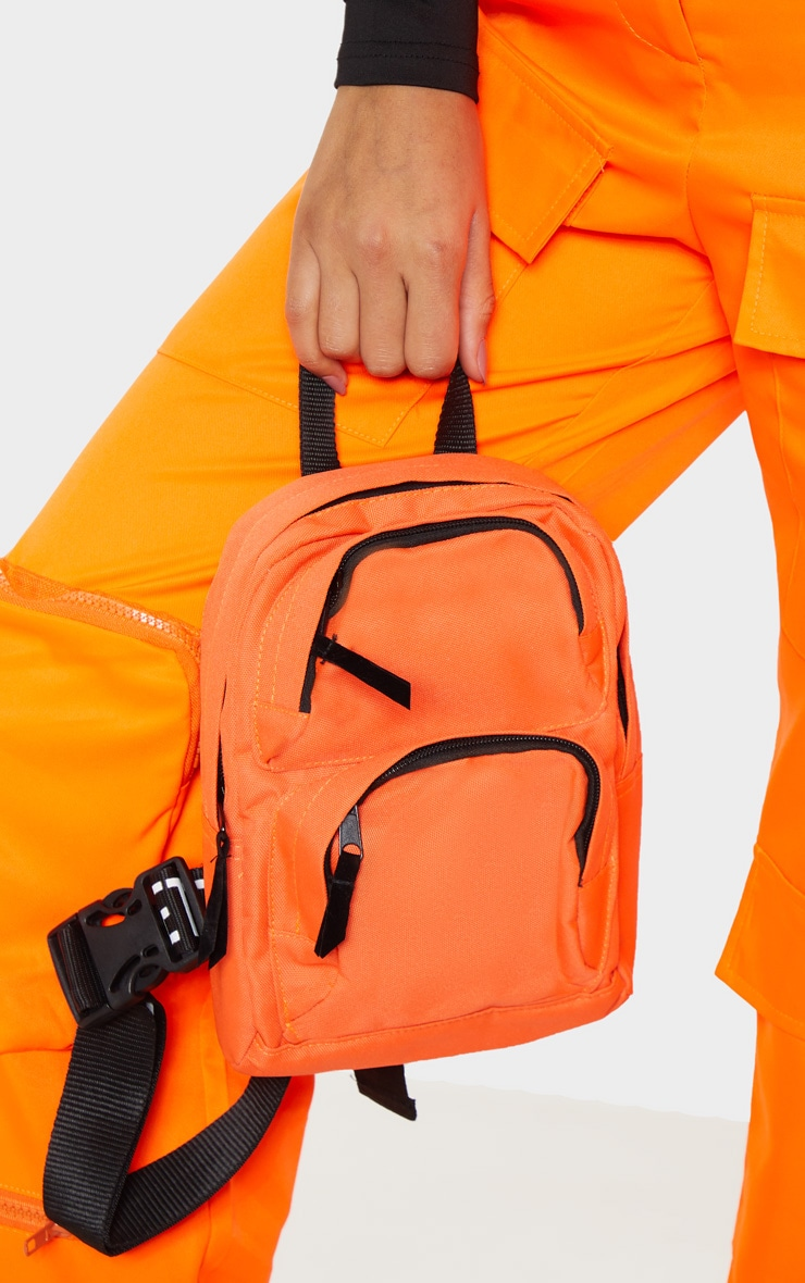PRETTYLITTLETHING Neon Orange Nylon Front Rucksack 1