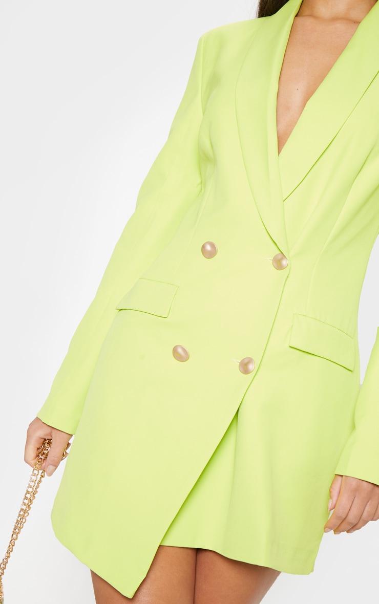 Bright Lime Gold Button Blazer Dress 5