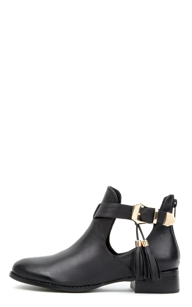 Mariana Black Cut Out Tassel Boots 1