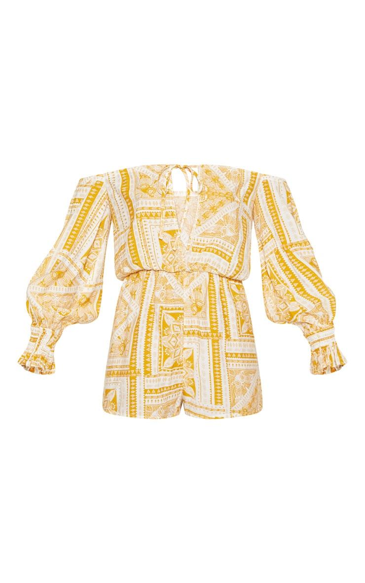 Yellow Paisley Tile Print Bardot Romper 3