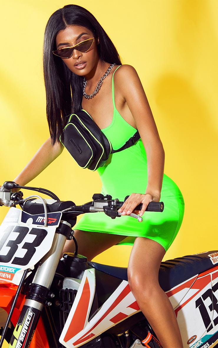 Neon lime green bodycon dress