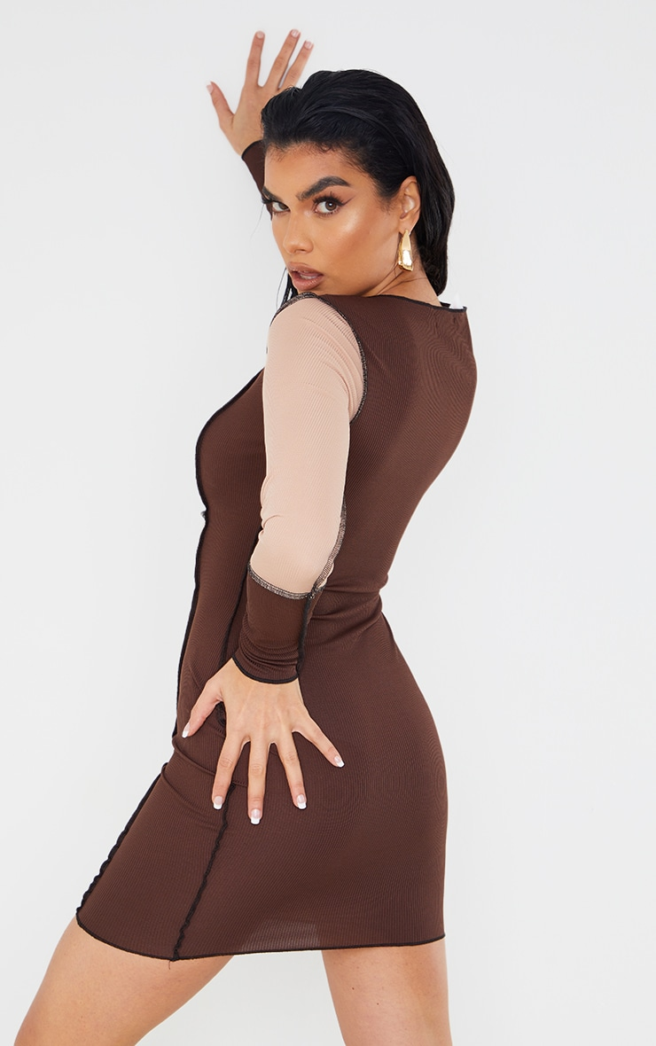 Brown Patchwork Overlock Stitch Detail Long Sleeve Bodycon Dress 2