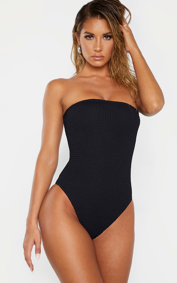 Black Crinkle Strapless Swimsuit 1