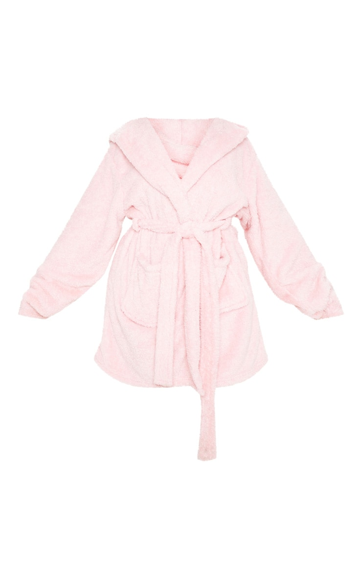 PRETTYLITTLETHING Plus Pink Fluffy Dressing Gown 3
