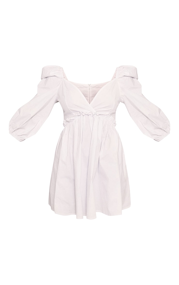 White Cotton Ruched Sleeve Frill Detail Shift Dress 5